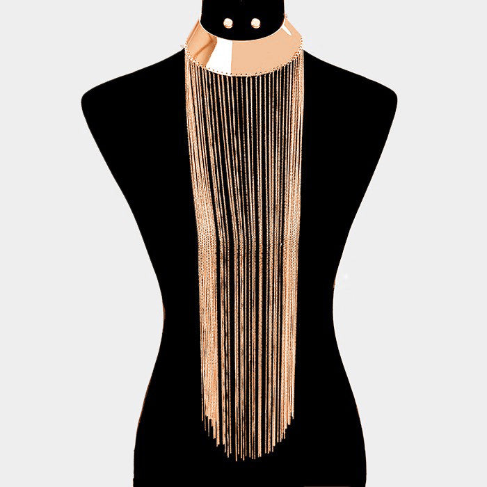 "11"" tassel 19"" fringe chain bib collar choker necklace .30"" earrings"
