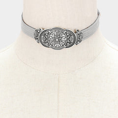 "12"" faux suede filigree pendant multi layer choker necklace 1.25"" wide"