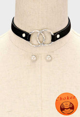 "12"" choker bib collar necklace faux leather"