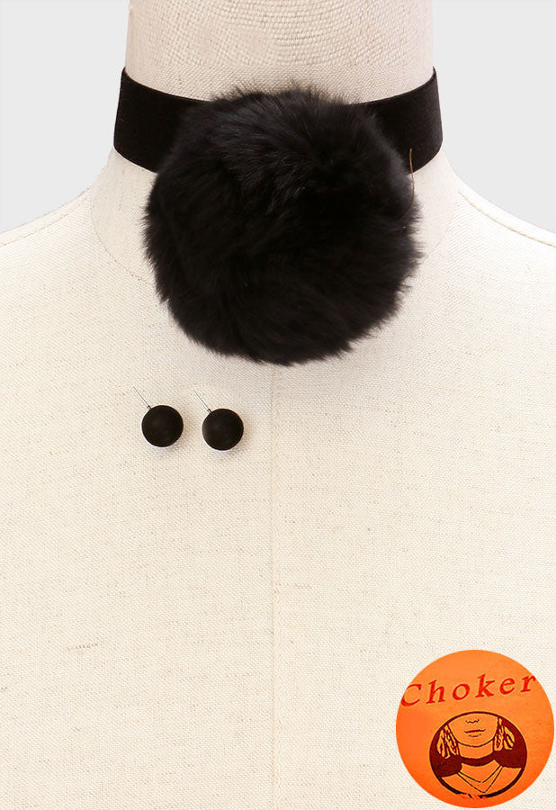 "11.50"" faux fur detachable pom pom collar choker necklace .50"" earrings"