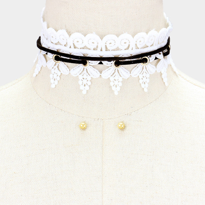 "30"" white lace tie wrap choker collar necklace .25"" earrings 1.75"" wide"