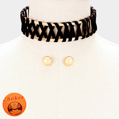 "15"" black gold choker collar bib necklace .60"" earrings 1.40"" wide"
