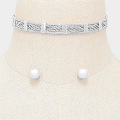"12"" mesh metal bib collar choker necklace .40"" earrings .40"" wide"