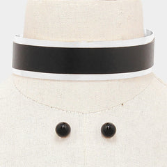 "12.50"" silver black faux leather cuff choker collar band necklace .50"" earrings .75"" wide"