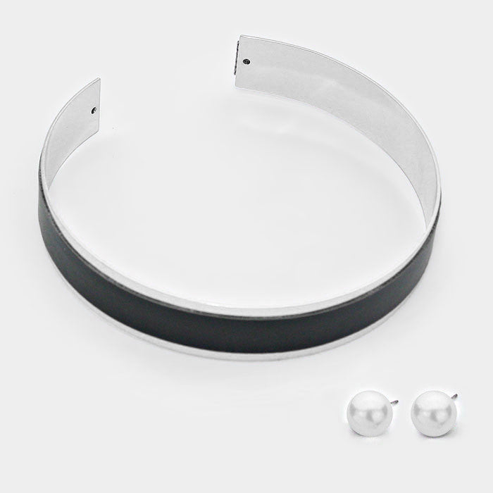 "12.50"" silver black faux leather cuff choker collar band necklace .50"" earrings 1.25"" wide"