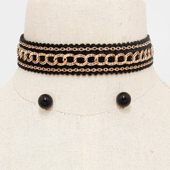 "12"" gold chain choker collar Necklace .50"" earrings .80"" wide"