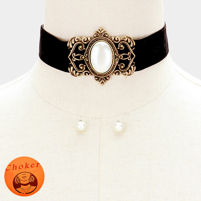 "12"" gold victorian large faux pearl pendant collar bib choker necklace .30"" earrings"