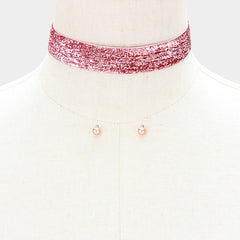 "12"" pink metallic boho collar choker necklace .20"" earrings .75"" wide"