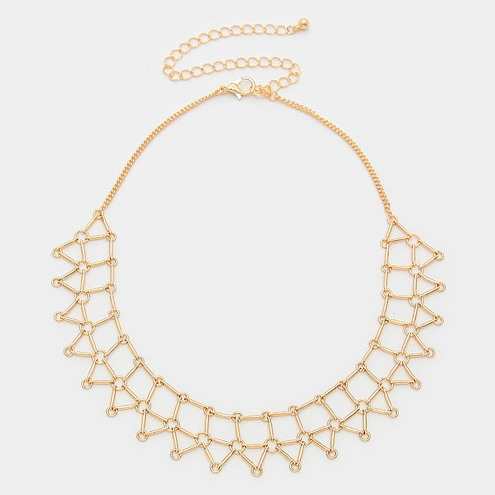"13"" gold geo shape mesh choker collar necklace"