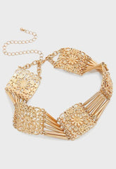 "14"" gold collar floral choker 1.25"" wide necklace"