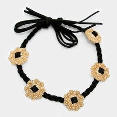 "27"" tan floral charm twisted faux suede choker collar necklace"