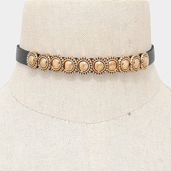 "13"" faux leather choker collar necklace"