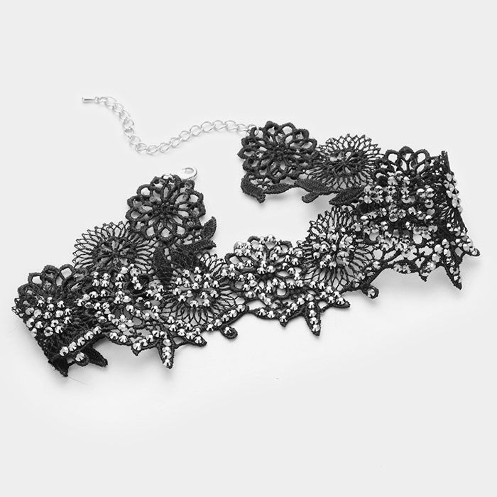 "13.50"" black crystal lace leaf choker collar Necklace .20"" earrings 1.75"" wide"