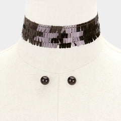 "12"" sequin choker necklace .50"" earrings 1.50"" wide"