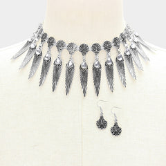 "14"" crystal fringe choker collar necklace 1.50"" earrings"