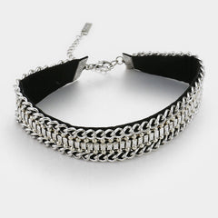 "12"" silver metal chain multi row choker necklace .50"" earrings 1"" wide"