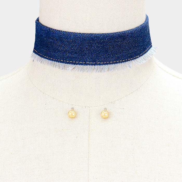"12"" blue jean denim frayed choker collar necklace .30"" earrings 1.30"" wide"