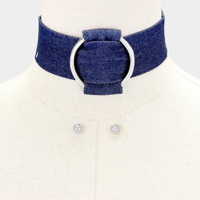 "12"" pendant denim blue jean choker collar necklace earrings 1.50"" wide"