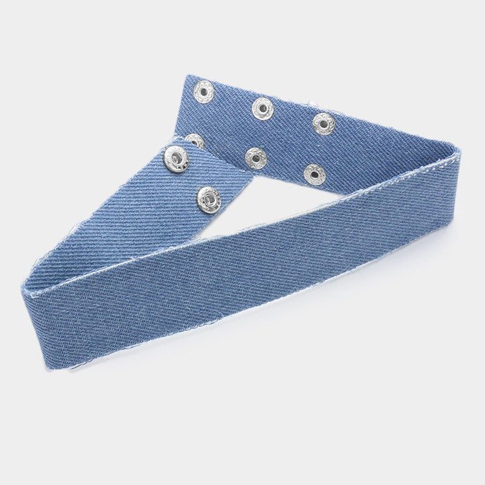 "12"" snap denim blue jean choker collar necklace earrings 1.25"" wide"