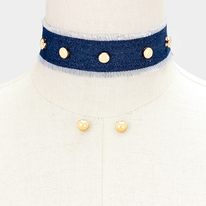 "12"" denim blue jean studded choker collar necklace .40"" earrings 1.40"" wide"