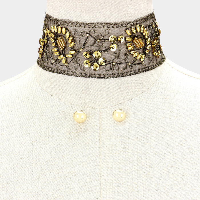 "12"" black gold sequin lace choker collar necklace .50"" earrings 2"" wide"