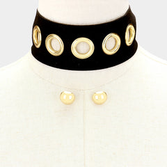 "12"" studded faux suede choker collar necklace .60"" earrings 2"" wide"