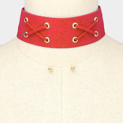 "12"" faux suede choker collar necklace .25"" earrings 1.50"" wide"