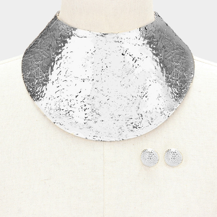 "13.50"" textured choker 4.25"" wide sheet collar necklace bib balmain replica.75"" earrings"