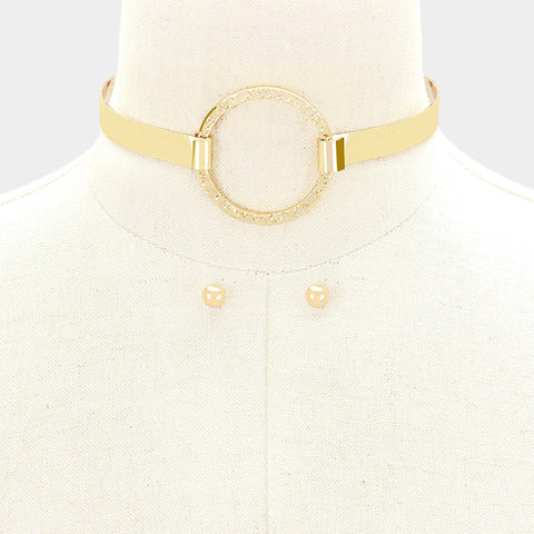 "10"" hammered hoop choker collar necklace .30"" earrings"