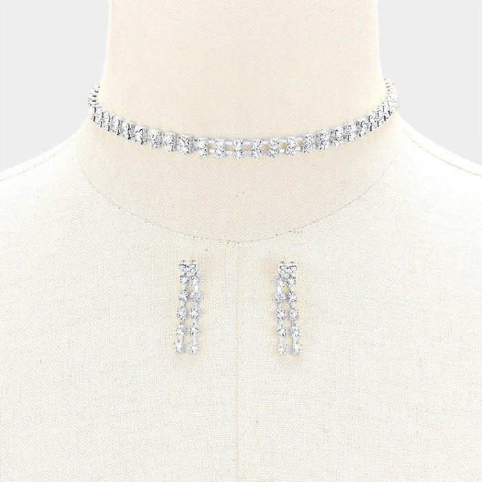 "14"" crystal tennis choker collar 2 row necklace 1.40"" earrings bridal"