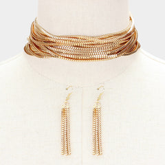 "12"" gold multi strand layered choker collar necklace 3"" earrings 2"" wide"