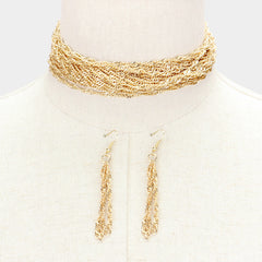 "12"" gold layered multi tier choker necklace 3"" earrings 2"" wide"