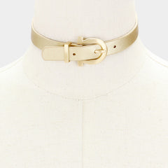 "12"" gold metallic buckle faux leather collar necklace .60"" wide"