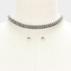 "16"" crystal round tube choker necklace"