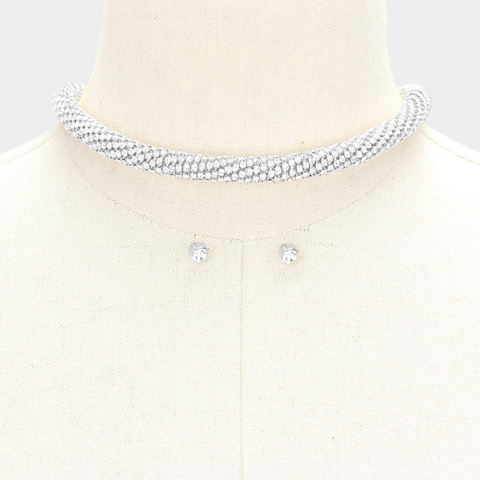 "16"" crystal round tube choker magnetic necklace"