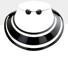 "15"" cut out layered choker collar necklace .70"" earrings"