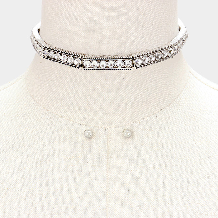 "12"" silver crystal choker collar necklace .25"" earrings .40"" wide"
