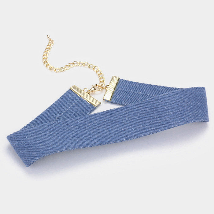 "12' blue jean denim choker collar Necklace 1.25"" wide"