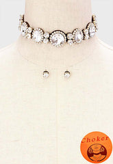 "11"" topaz crystal choker collar bib necklace .25"" earrings .09"" wide"