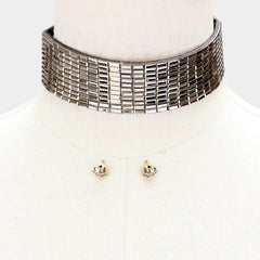 "12"" crystal choker collar bib necklace .25"" earrings 1.25"" wide"
