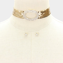 "12"" gold sequin oval crystal mesh choker necklace .30"" earrings 1.25"" wide"