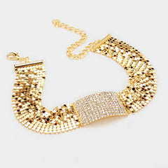 "12"" gold sequin pave crystal mesh choker necklace .30"" earrings 1.20"" wide"