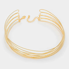 "16"" gold layered tiered wire choker collar bib necklace 1.50"" width"