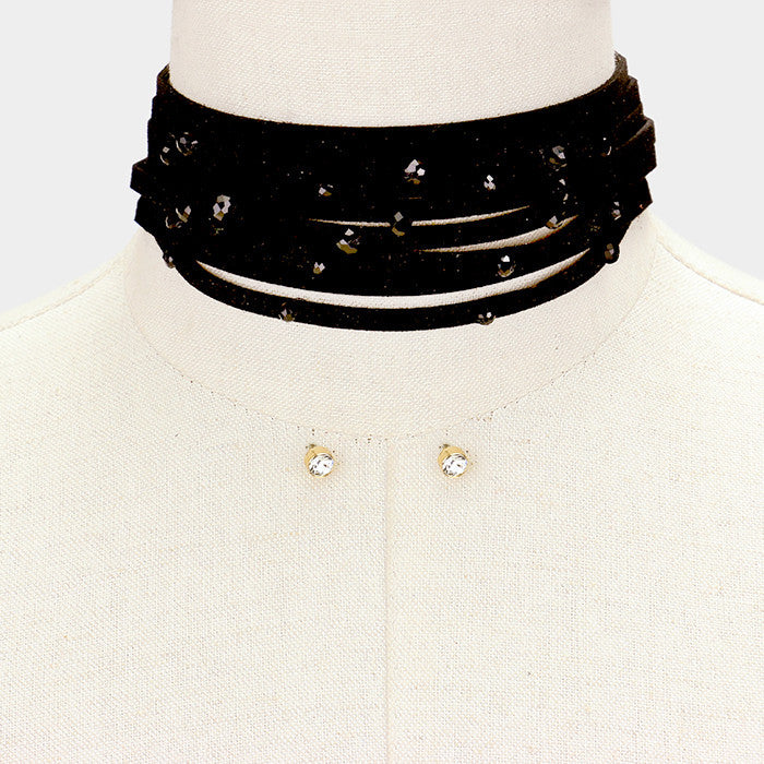 "12"" black beads faux suede layered choker collar necklace earrings 1.75"" wide"