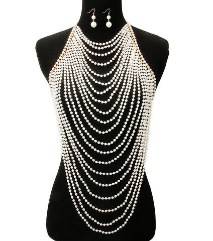 "16"" gold pearl choker necklace 1.75"" earrings collar body chain armor vest"