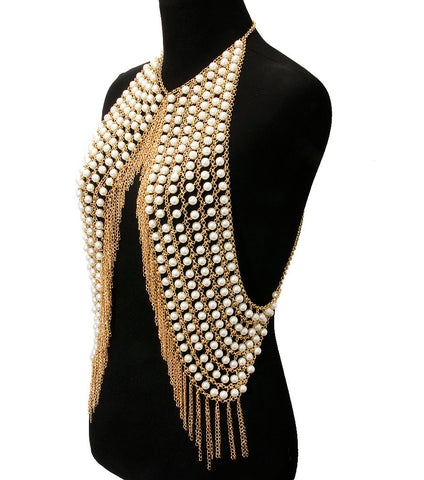 "16"" pearl vest body chain collar bib choker necklace fringe armor"