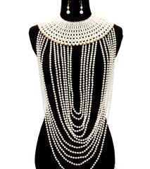 "22"" pearl body chain celebrity basketball wives bib collar necklace bridal"