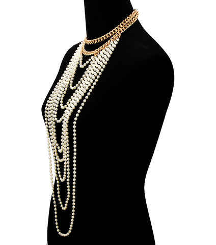 "14"" cream faux pearl drape collar bib necklace 1.50"" earrings body chain"