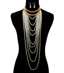 "14"" gold faux pearl layered body chain necklace 1.50"" earrings 19"" drape"