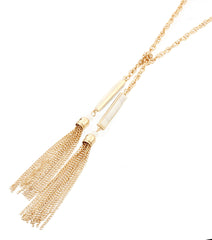 "24"" gold stone drop tassel fringe back necklace"